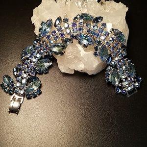 Amazing Vintage Molded Glass Rhinestone Bracelet